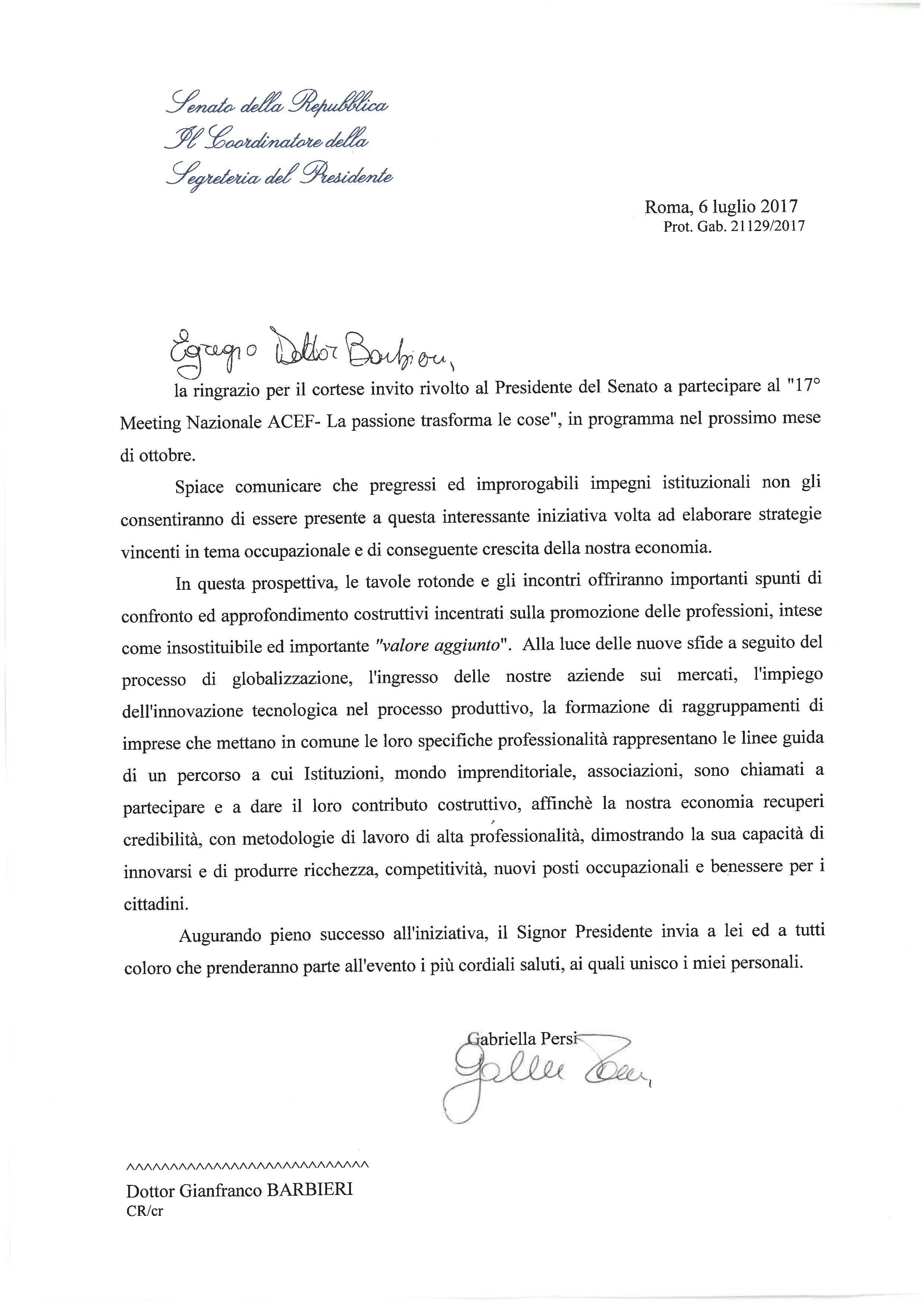 Lettera dal senato della repubblica meeting nazionale acef for Senato della repubblica indirizzo